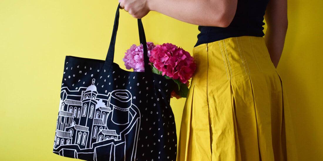Black Bural tote bag with Dubrovnik city walls