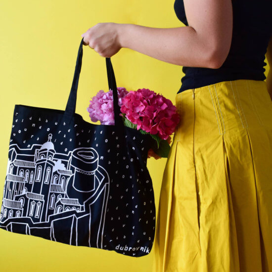 Black Bural tote bag with Dubrovnik city walls