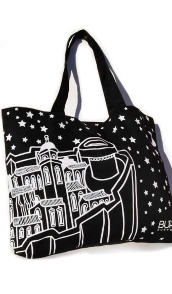 Black bural tote bag with Minčeta tower.