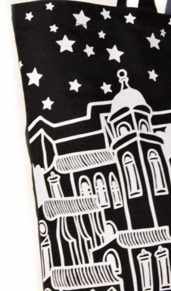 detalj platnene torbe Bural s motivom dubrovačkih gradskih zidina